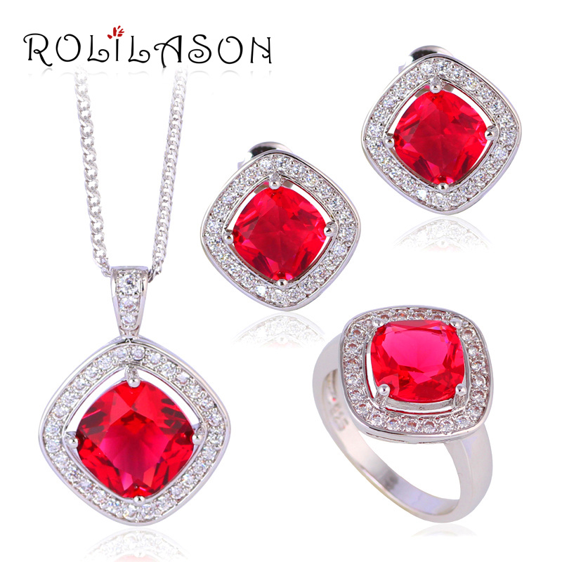 Garnet Red Zirconia Square Fashion jewelry Silver filled Jewelry Sets Earrings Necklace rings JS637